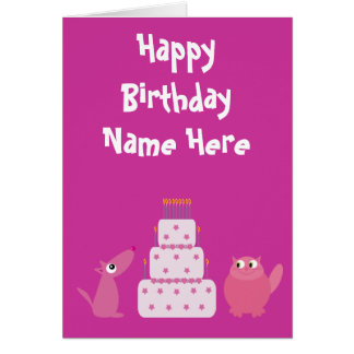 Cute Pink Cartoon Pets Birthday Animal Charity Stationery Note Card
