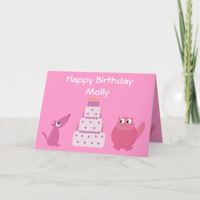 Cute Pink Cartoon Pets & Birthday Cake Card by Molly_Sky