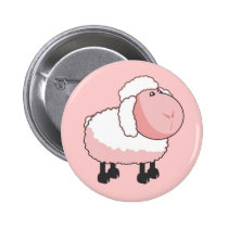 Cute Pink Cartoon Sheep Button