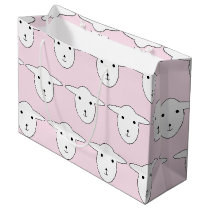 Cute Pink Cartoon Sheep Pattern Large Gift Bag