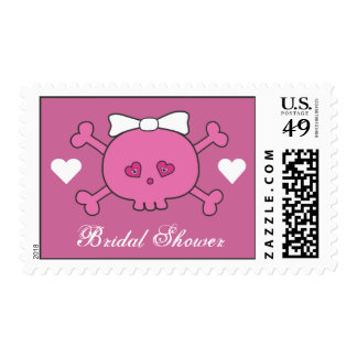 Cute Pink Cartoon Skull Bride Bridal Shower Stamp