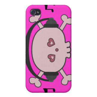 Cute Pink Cartoon Skull DJ With Heads iPhone 4 Cover