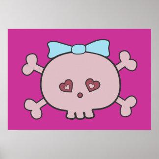 Cute Pink Cartoon Skull With Ribbon Poster