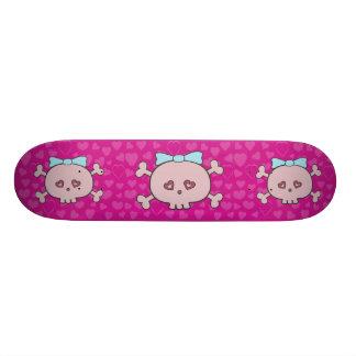 Cute Pink Cartoon Skulls With Ribbons & Hearts Skateboard Deck
