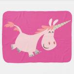 Cute Pink Cartoon Unicorn Baby Blanket