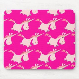 Cute Pink Cartoon Unicorn Herd!! mousepad mousepad