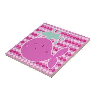 Cute Pink Cartoon Whale Ceramic Tile