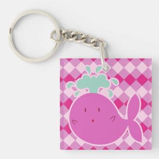 Cute Pink Cartoon Whale Keychain