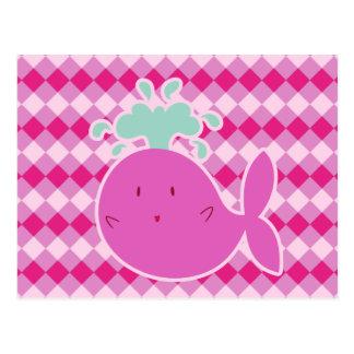 Cute Pink Cartoon Whale Postcard