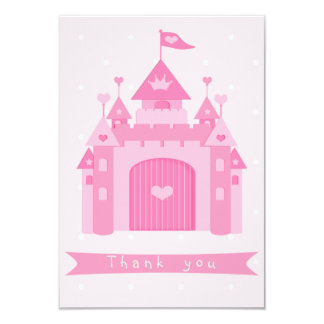 Cute Pink Castle Princess Birthday Party Thank You Card