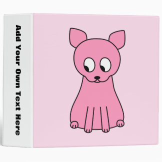 Cute Pink Cat. 3 Ring Binder
