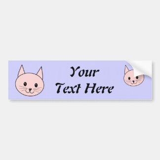 Cute Pink Cat Car Bumper Sticker