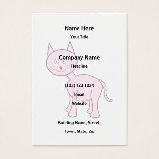 Cute Pink Cat Cartoon. Business Card