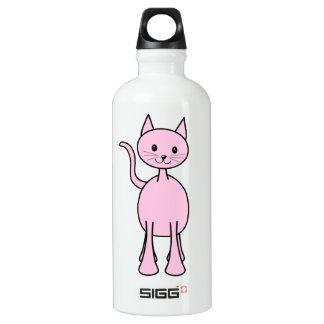 Cute Pink Cat Cartoon. Water Bottle