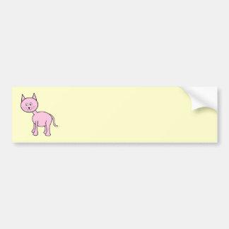 Cute Pink Cat. Cream Background. Car Bumper Sticker