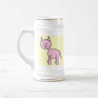 Cute Pink Cat. Cream Background. Coffee Mugs