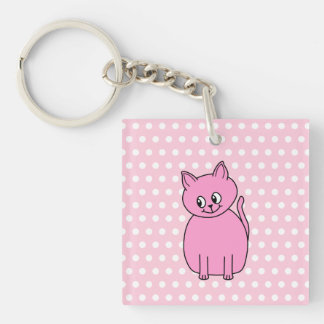 Cute Pink Cat. Single-Sided Square Acrylic Keychain