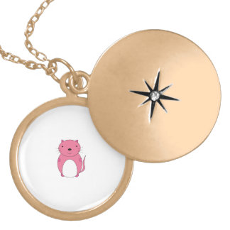 Cute pink cat round locket necklace