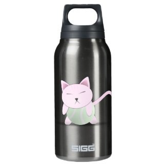 Cute Pink Cat on Tennis Ball Insulated Water Bottle