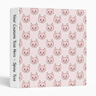 Cute Pink Cat Pattern 3 Ring Binder