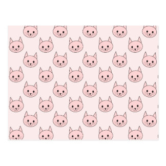 Cute Pink Cat Pattern Postcard