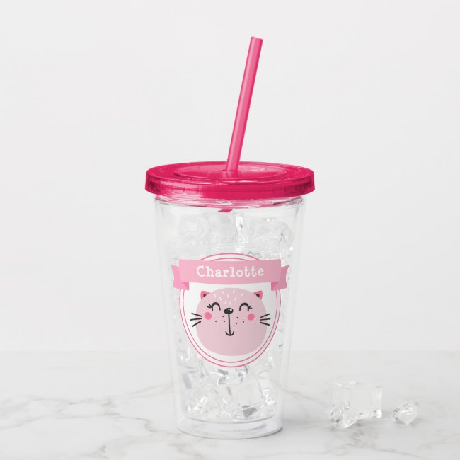 Cute Pink Cat - Personalized Kids