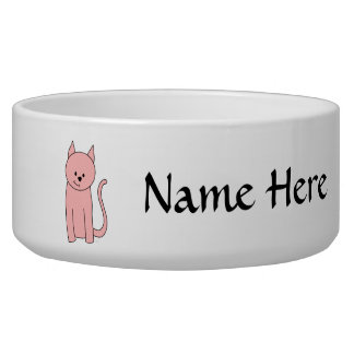 Cute Pink Cat Dog Water Bowl