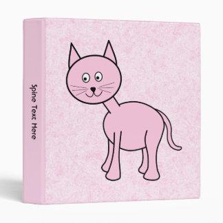 Cute Pink Cat. Pink Background. Cartoon. 3 Ring Binder