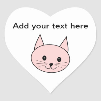 Cute Pink Cat Heart Sticker
