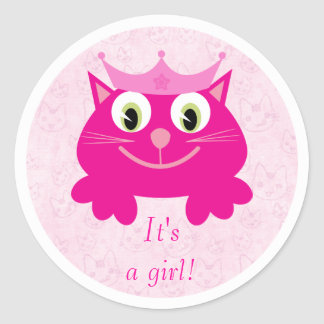 Cute Pink Cat With Crown Its A Girl New Baby Round Sticker