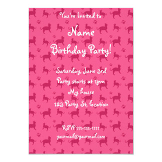 Cute pink cats and paws pattern 5x7 paper invitation card