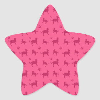 Cute pink cats and paws pattern star sticker