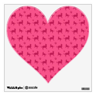 Cute pink cats and paws pattern wall graphics