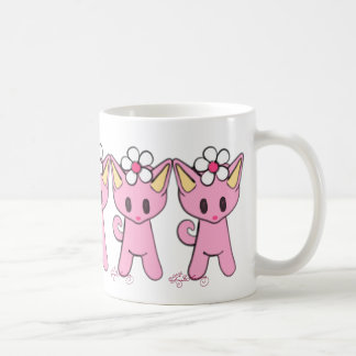 Cute Pink Cats With Daisies Classic White Coffee Mug