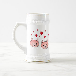 Cute Pink Cats with Hearts. Beer Stein