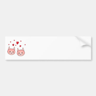 Cute Pink Cats with Hearts. Car Bumper Sticker
