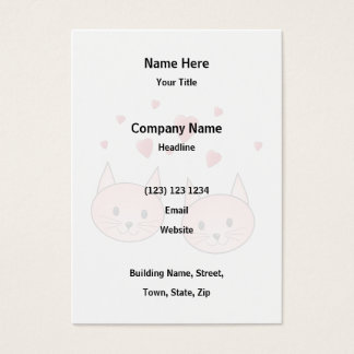 Cute Pink Cats with Hearts. Business Card