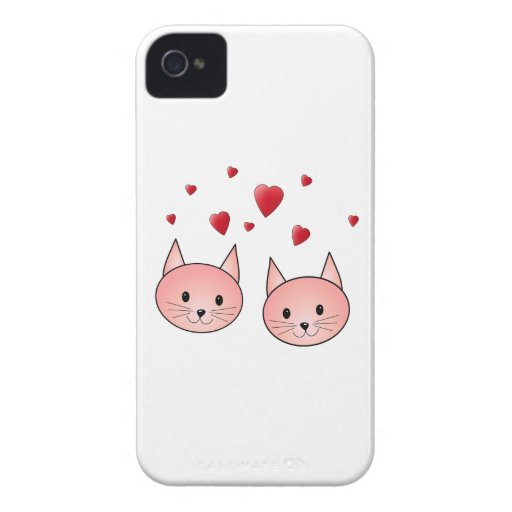 Cute Pink Cats with Hearts. Case-Mate iPhone 4 Case