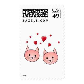 Cute Pink Cats with Hearts. Postage Stamp