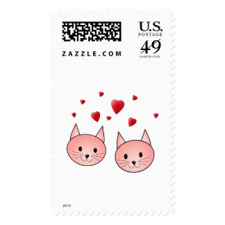 Cute Pink Cats with Hearts. Stamp