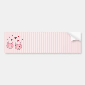 Cute Pink Cats, with Red Love Hearts. Car Bumper Sticker