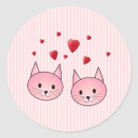 Cute Pink Cats, with Red Love Hearts. Classic Round Sticker