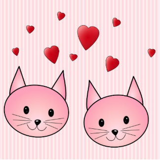 Cute Pink Cats, with Red Love Hearts. Cut Outs