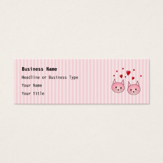 Cute Pink Cats, with Red Love Hearts. Mini Business Card