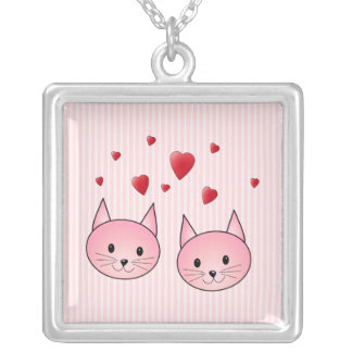Cute Pink Cats, with Red Love Hearts. Silver Plated Necklace