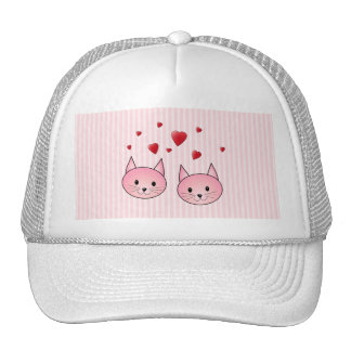 Cute Pink Cats, with Red Love Hearts. Trucker Hat