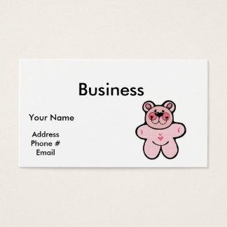 cute pink checkered  bear business card