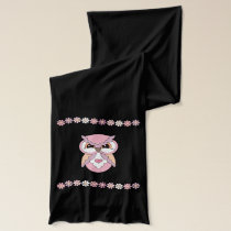 Cute Pink Cheeky Owls with Flowers Scarf