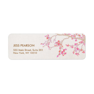 Cute Pink Cherry Blossoms Floral Nature Label