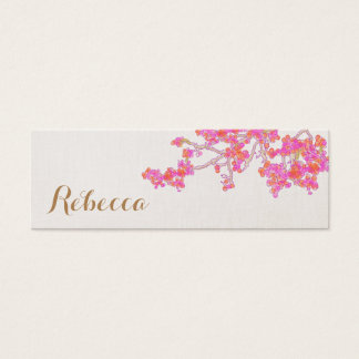 Cute Pink Cherry Blossoms Floral Nature Mini Business Card